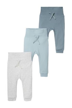 baby broek met biologisch katoen blauw/lichtblauw/lichtgrijs - (set van 1)