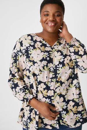 gebloemde blouse donkerblauw