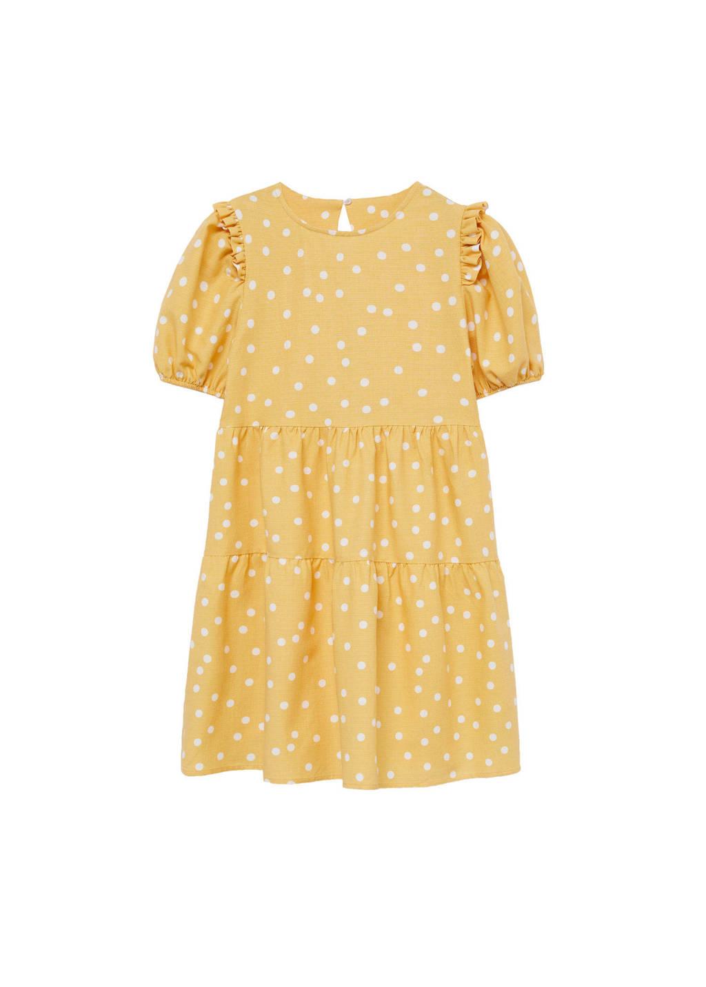 Mango Kids jurk met stippen geel/wit, Geel/wit