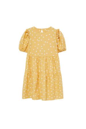 jurk met stippen geel/wit