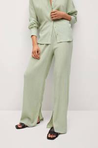 Mango loose fit broek met textuur groen, Groen