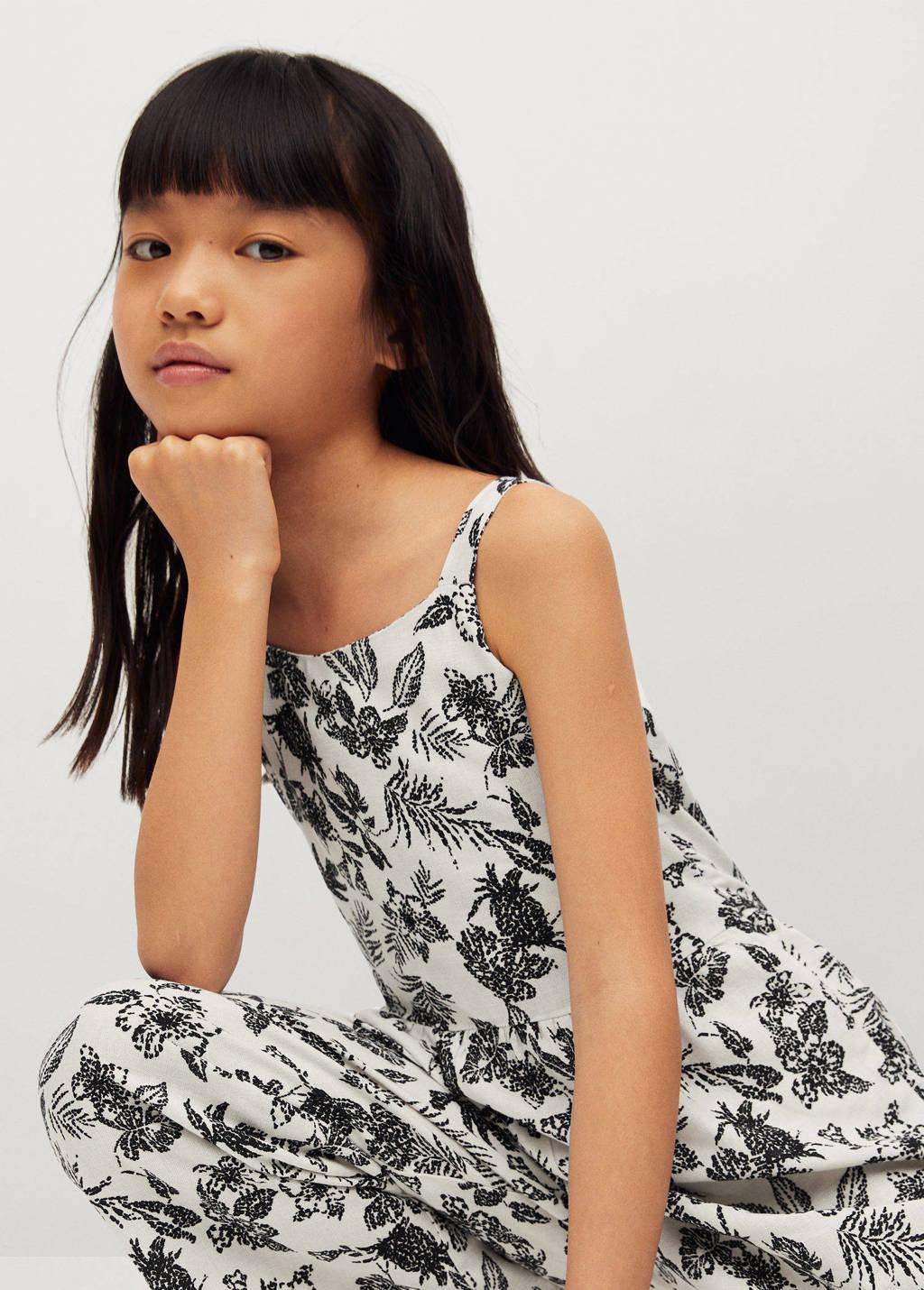 Mango Kids gebloemde jumpsuit zwart/wit, Zwart/wit