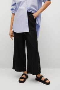 Mango cropped high waist loose fit broek zwart, Zwart