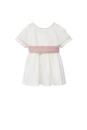 jurk met ruches naturel wit/oudroze