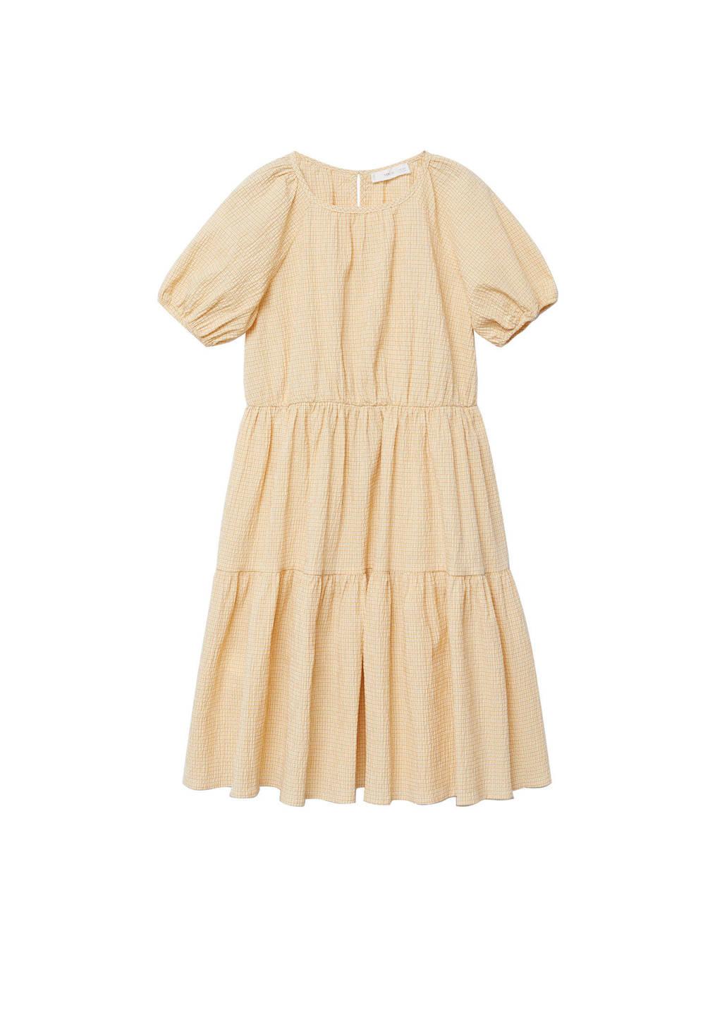 Mango Kids geruite A-lijn jurk geel, Geel