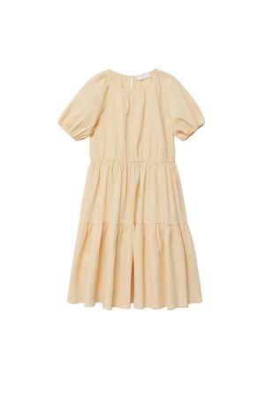 geruite A-lijn jurk geel