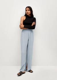 Mango loose fit broek met textuur lichtblauw, Lichtblauw