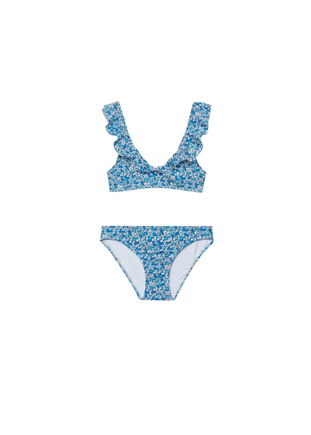 Mango Kids gebloemde bikini met ruches blauw, Blauw