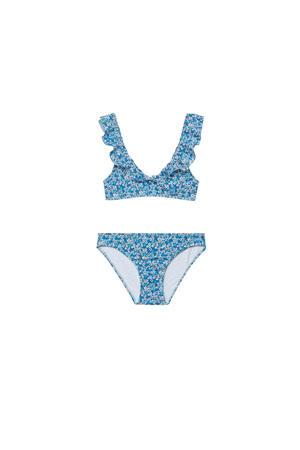 gebloemde bikini met ruches blauw