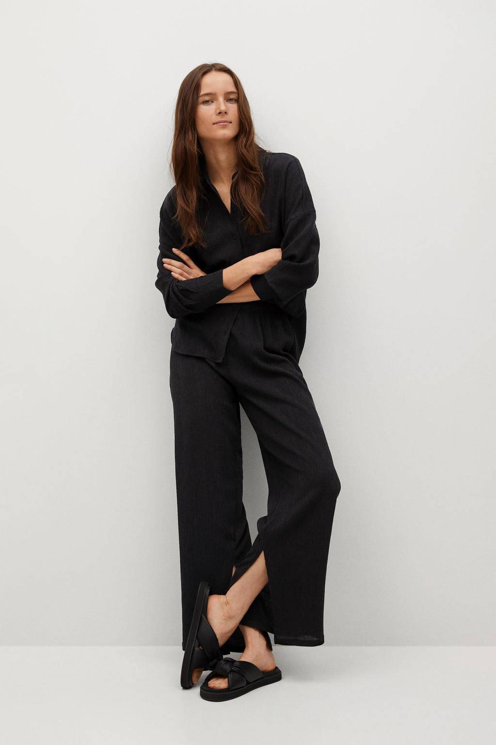 Mango loose fit broek met textuur zwart, Zwart