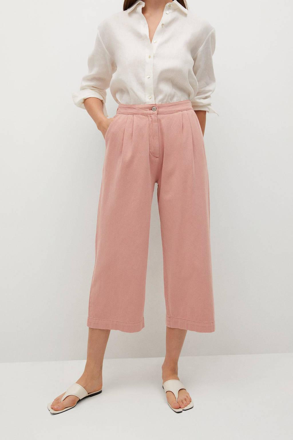 Mango high waist loose fit culotte roze, Roze