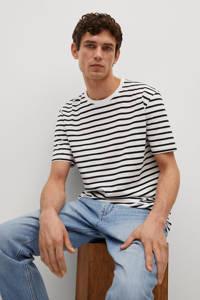 Mango Man gestreept regular fit T-shirt wit/zwart, Wit/zwart