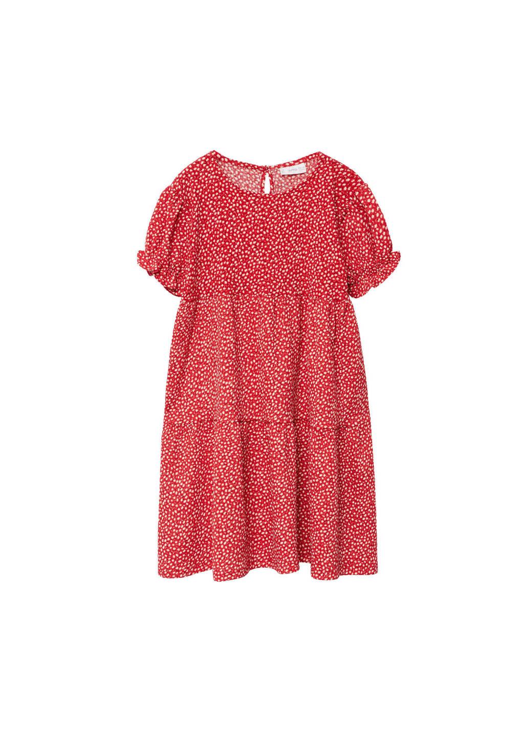 Mango Kids gebloemde jurk van gerecycled polyester rood, Rood