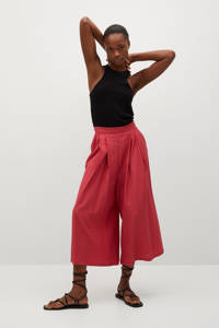 Mango cropped high waist loose fit culotte rood, Rood