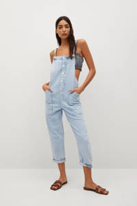 Mango cropped straight fit tuinbroek light blue denim, Light blue denim