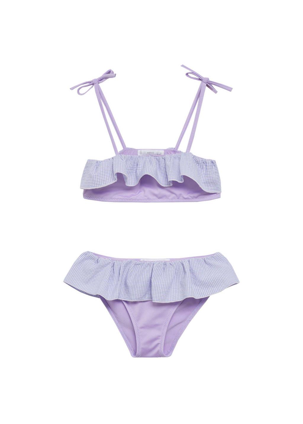 Mango Kids crop bikini met ruches lavendel/lichtblauw, Lavendel/lichtblauw