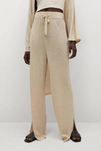 Mango high waist loose fit palazzo broek beige, Beige