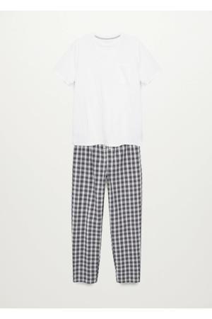 geruite pyjama naturel wit/zwart