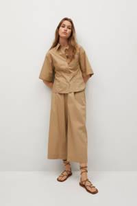 Mango high waist loose fit culotte bruin, Bruin
