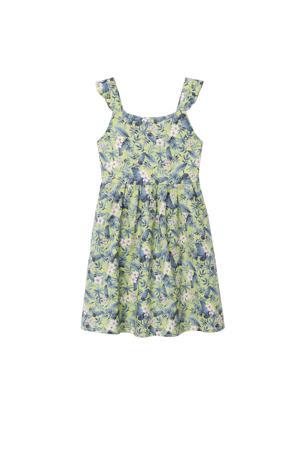gebloemde jurk geel/blauw