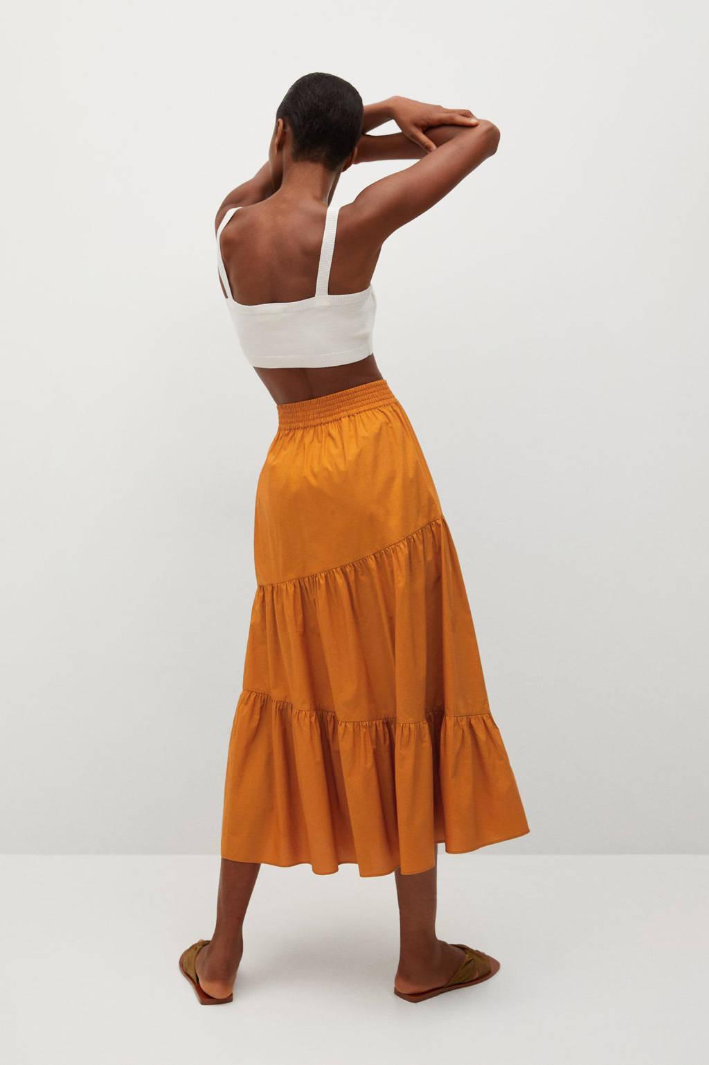 Mango rok met plooien oranje, Oranje