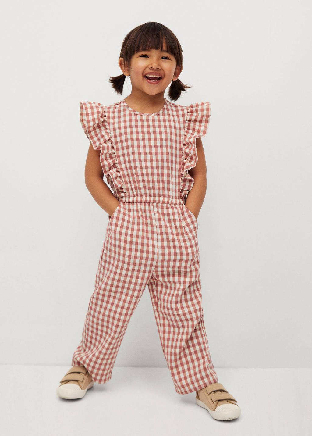 Mango Kids geruite jumpsuit roze/ecru, Roze/ecru