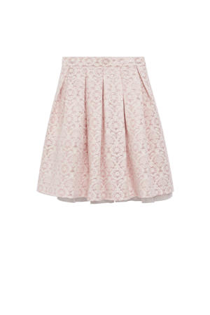 rok met all over print en plooien roze