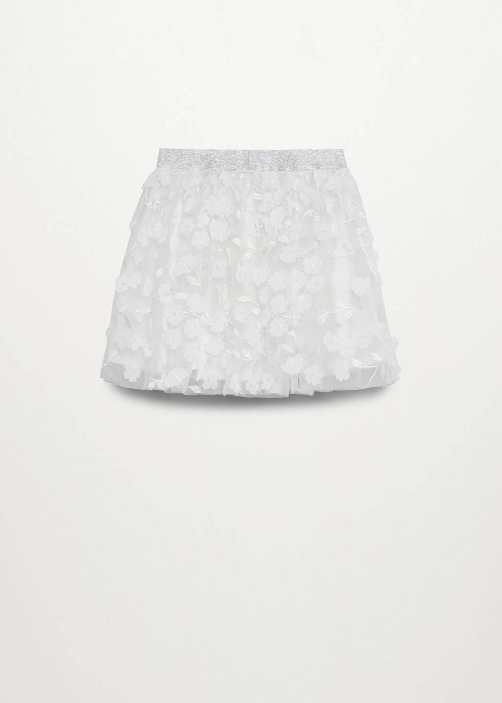Mango Kids tulen rok met bloemen borduursels wit, naturel wit