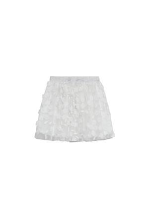 tulen rok met bloemen borduursels wit