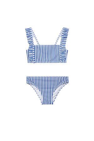 gestreepte crop bikini blauw/wit