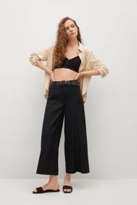 Mango high waist loose fit culotte zwart, Zwart