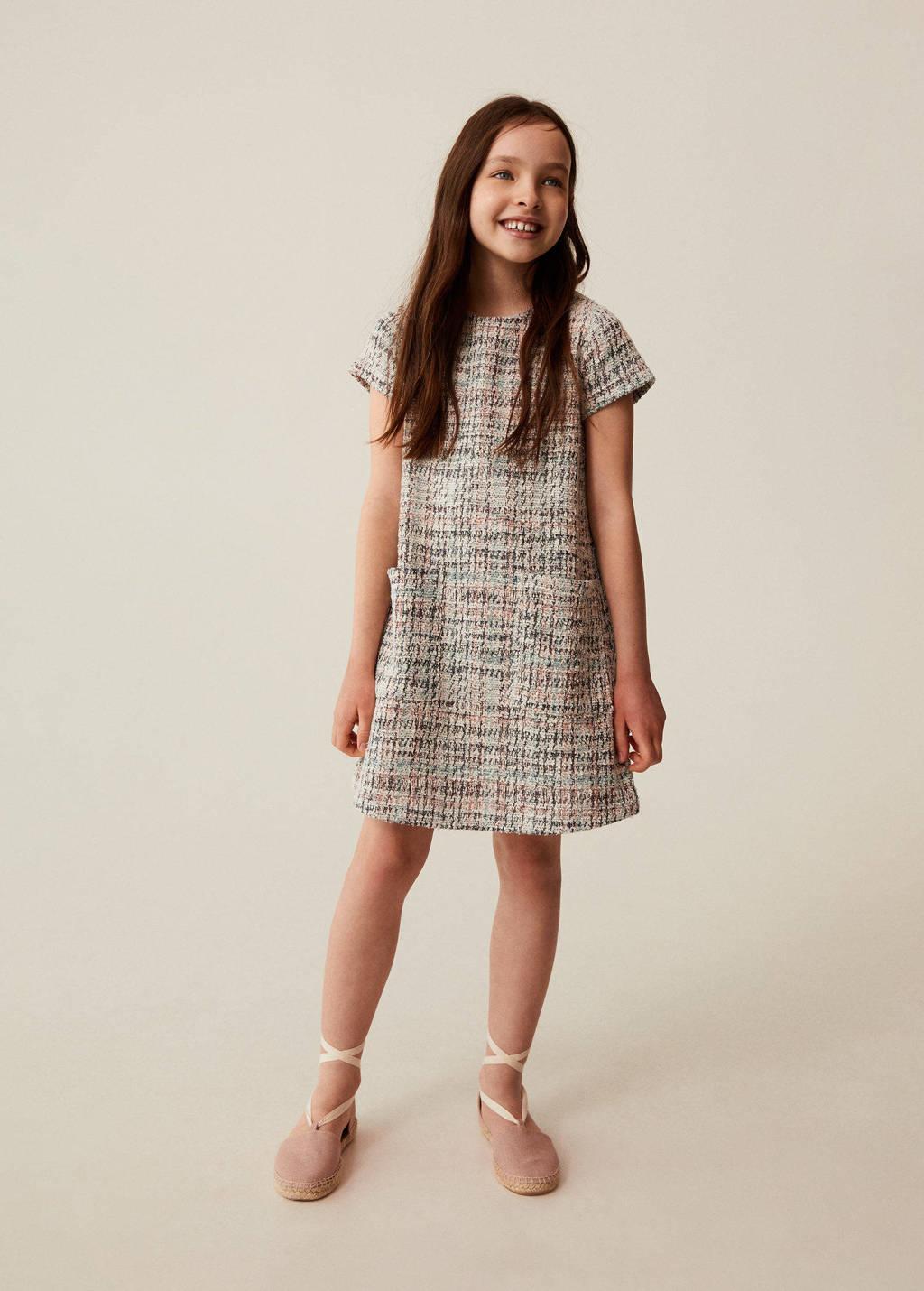 Mango Kids gemêleerde jurk naturel wit/roze/groen, Naturel wit/roze/groen