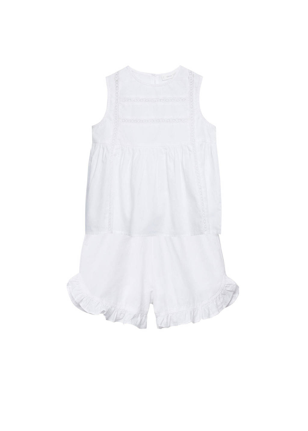 Mango Kids shortama met kant naturel wit