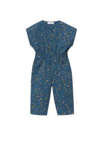 Mango Kids jumpsuit met bladprint blauw, Blauw