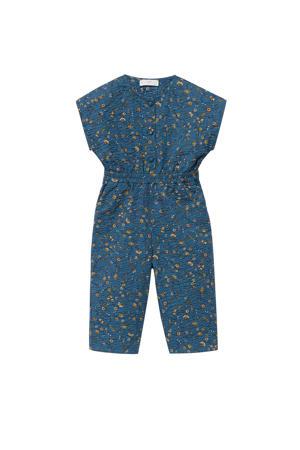 jumpsuit met bladprint blauw