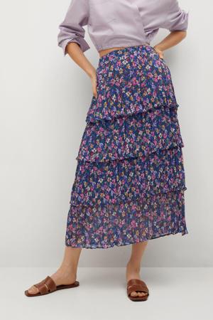 gebloemde semi-transparante rok donkerblauw/roze/donkergroen