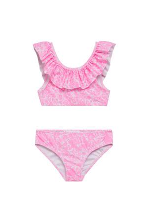 crop bikini met ruches roze