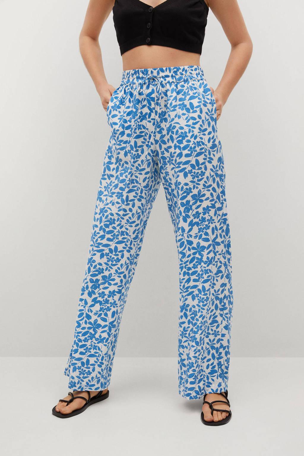 Mango gebloemde high waist loose fit broek lichtblauw/wit, Lichtblauw/wit