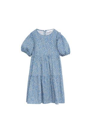 gebloemde A-lijn jurk blauw