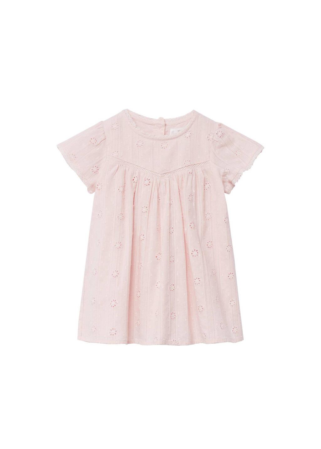Mango Kids gebloemde A-lijn jurk pastelroze, Pastelroze