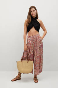Mango cropped high waist loose fit culotte met paisleyprint ecru/rood/oudroze, Ecru/rood/oudroze