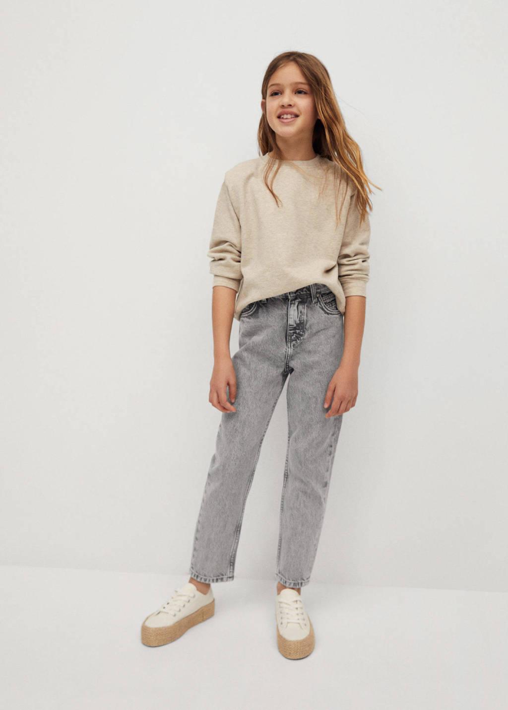 Mango Kids high waist mom jeans grijs, Grijs