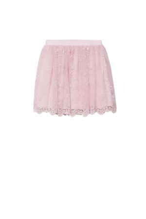 gebloemde rok pastelroze