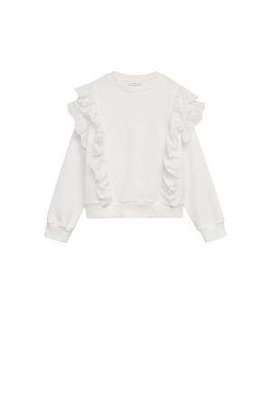 sweater met ruches naturel wit