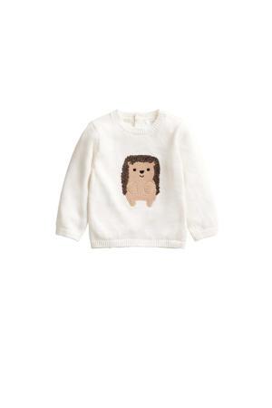baby trui van biologisch katoen naturel wit/beige/bruin