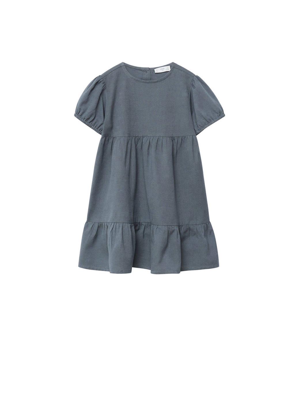 Mango Kids A-lijn jurk met volant donkergrijs, Donkergrijs