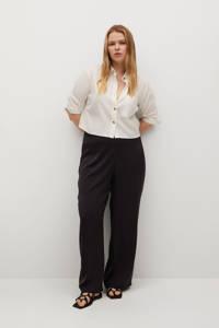 Violeta by Mango high waist loose fit palazzo broek zwart, Zwart