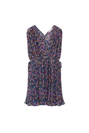 jurk met all over print middenblauw