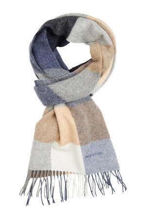 geruite sjaal beige/donkerblauw