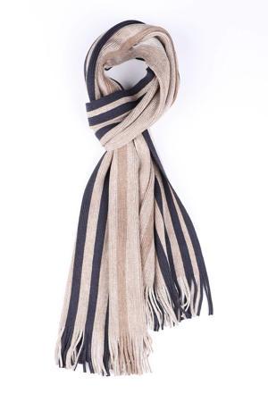 sjaal beige/donkerblauw